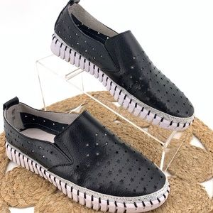 Bernie Mev Black Leather Slip On Sneaker Stars